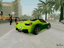 Ferrari 458 Green - ferrari 458 spider for gta san andreas