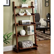 wooden bookshelves ladder in living room with unique ornaments