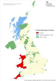 map uk assisted areas map 2014 to 2020 stage 2 gov uk