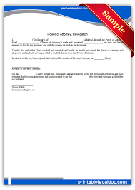 Power Of Attorney To Sign Documents by Free Printable Power Of Attorney Revocation Form Generic