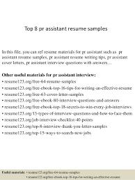 Pr Resume Examples by Top 8 Pr Assistant Resume Samples 1 638 Jpg Cb U003d1428135774
