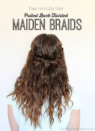 diy hairstyles in 5 minutes 5 minute hair pulled back twisted maiden braids girl loves glam