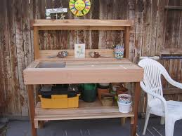 potting table with sink cedar wood potting bench with sink gardenista bench with storage