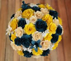 Blue And Yellow Home Decor by Free Shipping Navy Blue And Yellow Wooden Bouquet For Wedding And