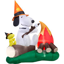 halloween inflatable 5 u0027 long x 6 u0027 tall snoopy and woodstock roasting marshmallow
