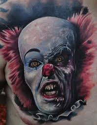 terrifying scary clown s colorful chest wf