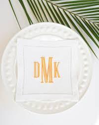 Hostess Gifts For Bridal Shower Engraved Monogram Embroidered Linen Cocktail Napkins Towels