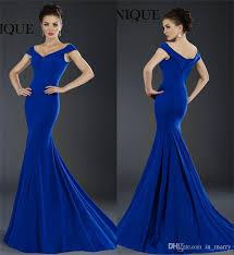 2016 janique royal blue prom dresses mermaid off shoulder plus