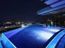 modern rooftop swimming pool design in house with lighting beside