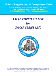 atlas copco ga xa technical kit list 2009