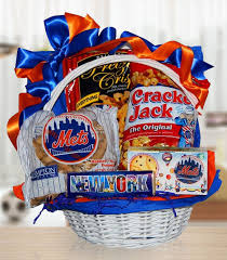 sports gift baskets for mets fans gift basket of snacks by amerigiftbaskets