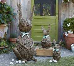 elegant bunny garden decor vine bunnies contemporary outdoor