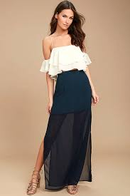 maxi skirt lovely navy blue skirt blue chiffon maxi skirt side slit maxi