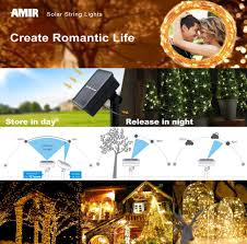 Solar String Lights For Gazebo by Amazon Com Amir Solar Powered String Lights 100 Led Copper Wire