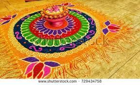 rangoli decoration deepavali kolam rangoli decoration on marble stock photo 729434758