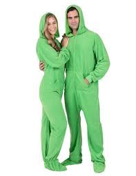 emerald green hoodie one hooded footed pajamas one
