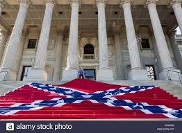 S Carolina State Flag Civil War Re Enactors Position A Gigantic Confederate Flag On The