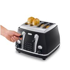 Toasters Delonghi Delonghi Icona Retro 4 Slice Toaster Black Cto4003bk Around The