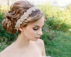 wedding hair with headband bridal headbands etsy