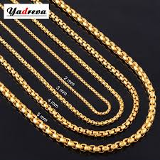 gold necklace box images 2mm 3mm 4mm 5mm stainless steel gold necklace chain waterproof jpg