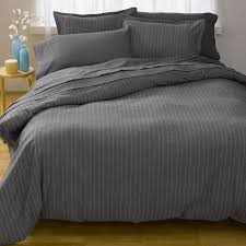 gaiam deluxe charcoal gray pinstripe flannel bedding hollie mollie