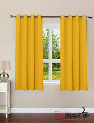 lemon yellow color plain cotton curtains with eyelets for door