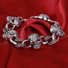 skull link bracelet images Men stainless steel bracelet 316l skull chain link biker heavy jpg