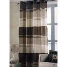 Curtains With Rings At Top Chocolate Brown Stripe Ring Top One Window Curtain Panel 145 X