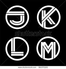capital letters j k l m from double white inscribed in a circle