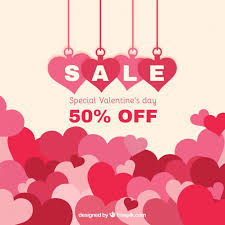 valentines sale flat heart background for valentines day sale vector free