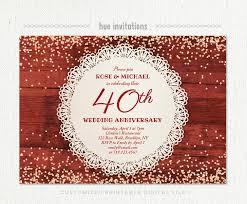 40th anniversary invitations 40th wedding anniversary invitation ruby anniversary party