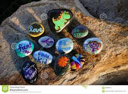 Painted Rocks For Garden by Ten Painted Rocks On A Boulder Stock Photo Image 96296674