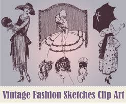 new vintage women u0027s fashion sketches clip art collection