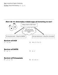 mixed practice factoring worksheet by math by catherine tpt