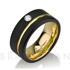 tungsten ring 14k yellow gold mens wedding