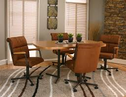 dinette table and chairs with casters cramco inc landon 5 piece 42 bow end sunset oak laminate table and
