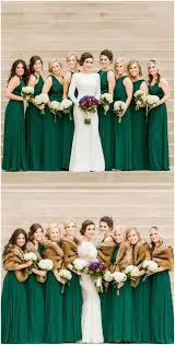 green bridesmaid dresses emerald green gowns bridesmaids modern wedding dress fur stoles
