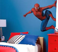 spiderweb wall for spiderman bedroom for little boy kiddos