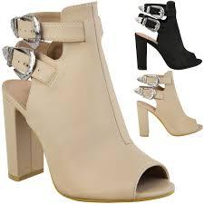 womens western block high heel sandals ladies ankle boots cowboy