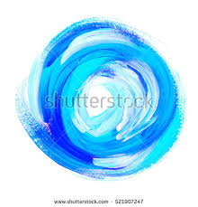 oil paint abstract blue round backdrop stock illustration
