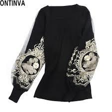 black sweater womens shop embroidery golden pullover 2017 autumn lantern