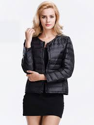 Plus Size Down Coats Fashion Short Thin Round Neck Single Breasted Down Jacket Plus