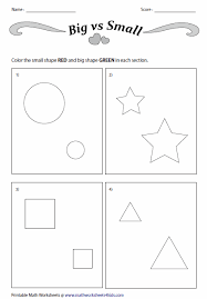 Kindergarten Activities Big And Small | and small worksheets