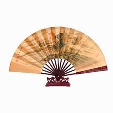 asian fan silk folding fan with stand landscape asian fans
