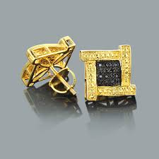 mens black diamond earrings gold earrings men mens diamond cluster earring k gold ct single
