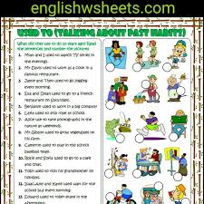 used to esl printable grammar exercise worksheet for kids usedto