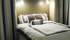 add storage space with bedroom built ins and romantic ambiance