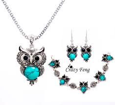 bracelet earring jewelry necklace images Crazy feng women retro tibetan silver stone crystal pendant jpg
