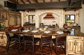 italian rustic elegant kitchen island design with exclusive leather chairs for