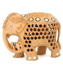 creative craft wooden elephant with inlay work home decorative